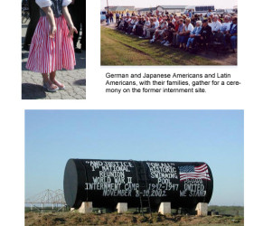 3 photos: child dressed in red, white, blue, with flags of Japan, Germany, and Italy in her hair; attendees at the ceremony; water tank with information about internment camp written on side
