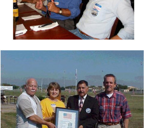 photo 1: former internees at party photo 2: Judge Avila presents plaque to attendees born in Crystal City, TX at the Internment Camp