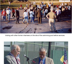 2 photos of former internees gathering around site of former pool for services