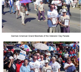 2 photos of former internees (collective Grand Marshals) walking in a Veterans' Day parade in Crystal City, TX in 2002