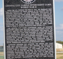 plaque with historical information about the Crystal City, TX Family Internment Camp