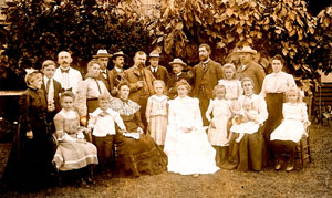 Bertha Andermann (front-3rd from right) & mother (3rd from left seated) at family wedding Kauai 1902