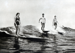 Doris surfing in 1949