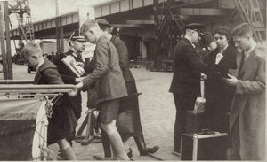 Max, far right, boarding the SS New York in May 1937 Ebel Family Collection
