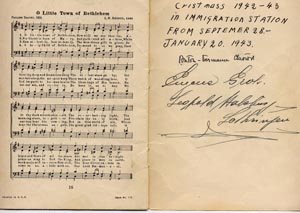 Some internees signed Max's songbook, including a Habsburg. Ebel Family Collection