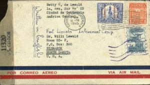 Guatemalan envelope to internee at Ft. Lincoln