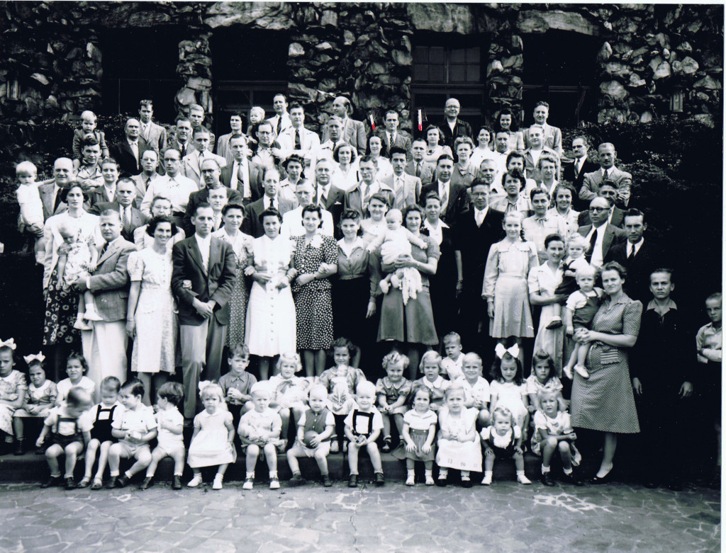 Grove Park Inn, 1942—diplomatic internees  (Hilde Mantel, 3rd from left, second row from bottom. Her parents are indicated with red markers toward middle back.)
