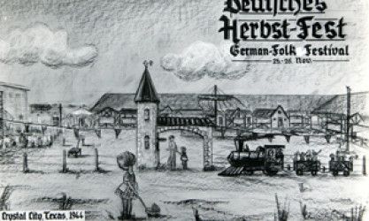 sketch of Crystal City Internment Camp with child in foreground