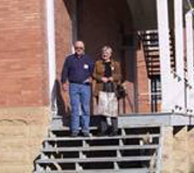 Vogt children, Armin and Ursula, on stairs to Ft. Lincoln building