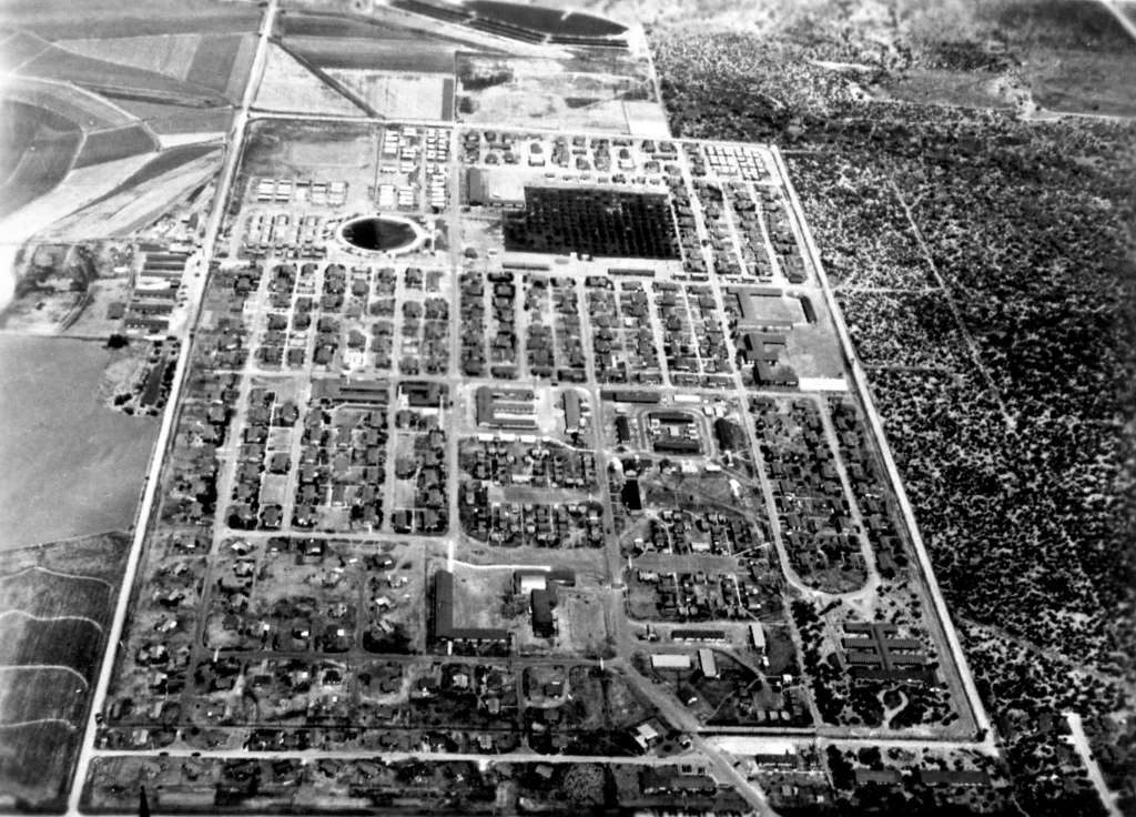 aerial view of internment camp