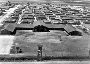 ariel view on camp and administration buildings