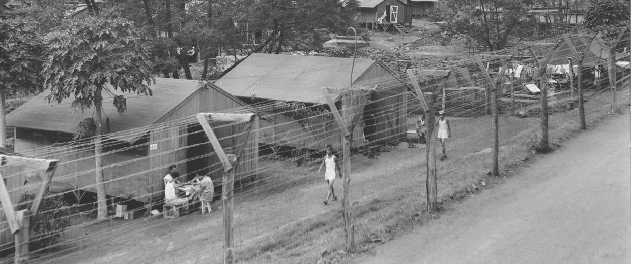 fence with buildings and people behind it