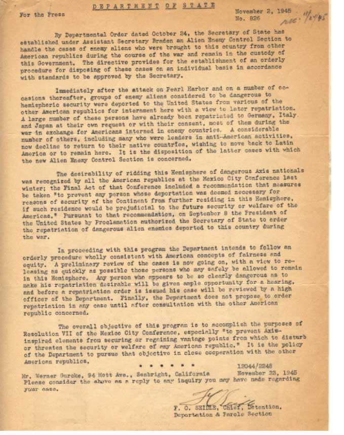 11 Nov 1945 DOJ press release