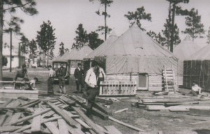 Construction of Camp Blanding huts for US service personnel. Photo courtesy of 43rd Infantry Division Veterans Association