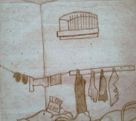 sketch of prison cell, with beds and clothes hung on pegs and clothes line