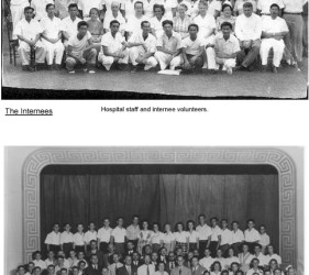 photo 1: hospital staff and internee volunteers photo 2: German School students and faculty