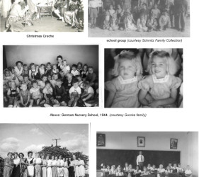 6 photos of various groups of internees (school groups, dancers, actors)