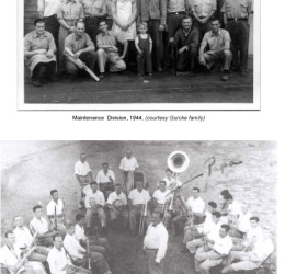 photo of maintenance division (men with one small boy in front) and photo of the band (men in white shirts, all with instruments)