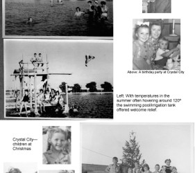 6 photos of internees, mostly children, and 2 photos of swimming pool activities