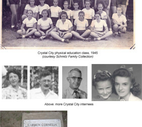 5 photos of internees and one of a grave marker for Carmen Cornelia Weyrauch, died June 9, 1945