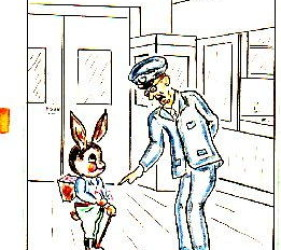 cartoon of Easter bunny, talking to guard about delivering Easter eggs to internees