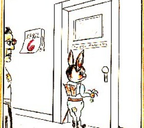 cartoon of Easter bunny entering the internee area