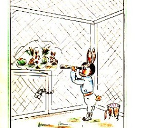 "cartoon of Easter bunny, ""interned"", staring outside at rabbits with Easter eggs"