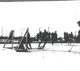 hockey at Ft. Lincoln; men on ice skates