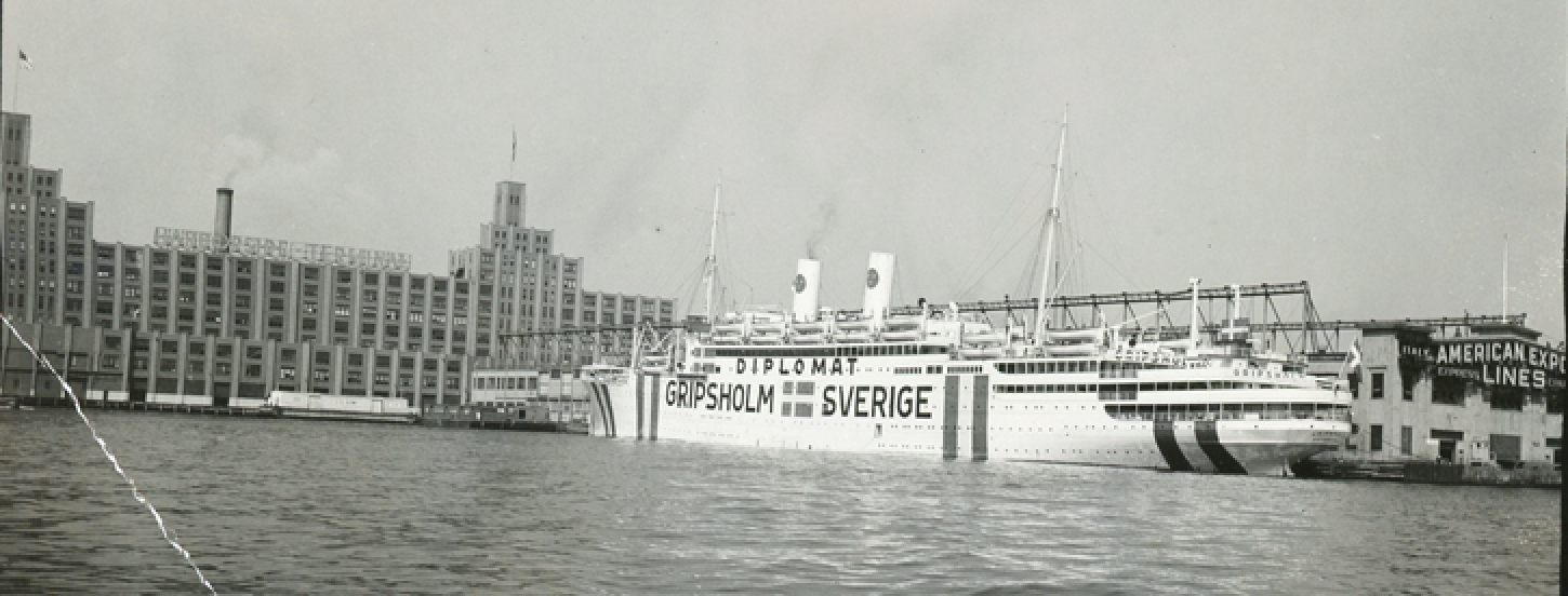 Gripsholm at anchor in New Jersey