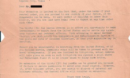 ltr. giving internee 30 days parole to exit U.S.