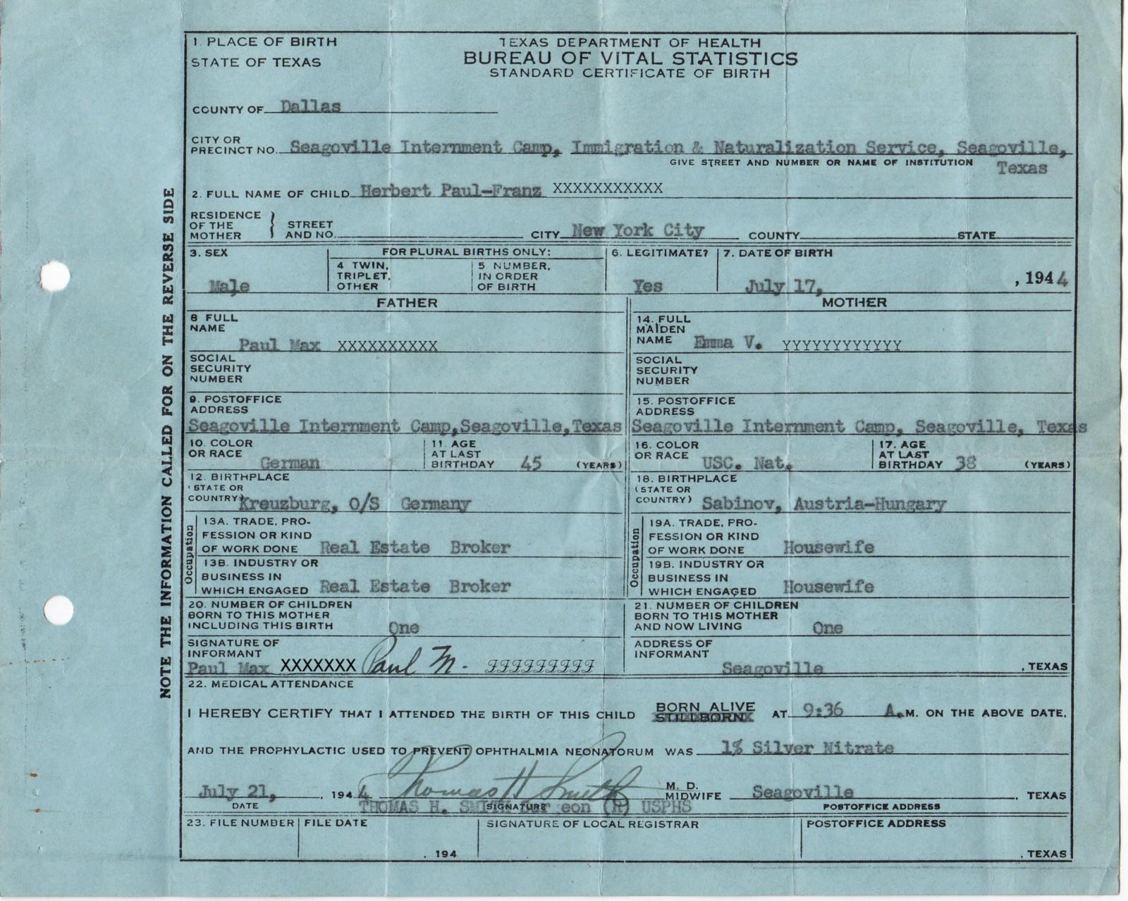 Birth Certificate from Camp Seagoville