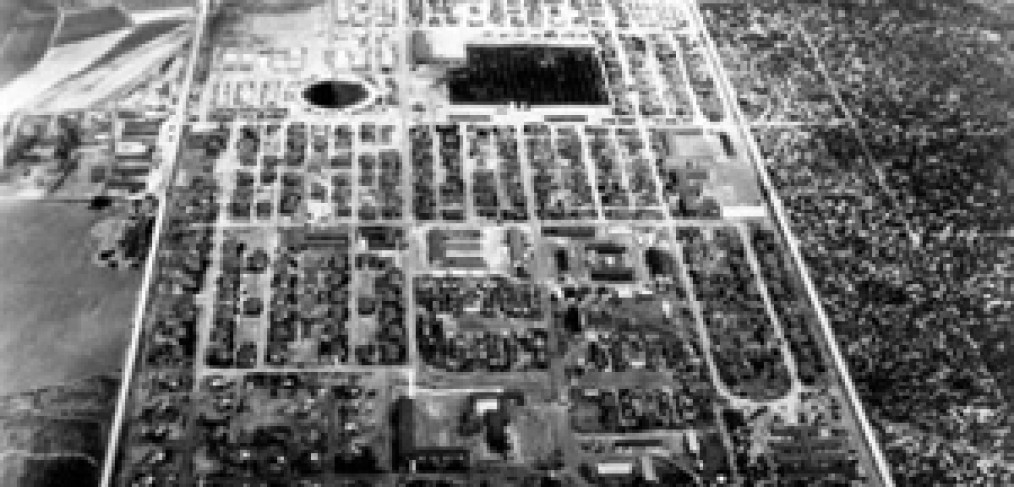 view of internment camp from the air