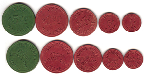green and red coins used as currency in Crystal City Internment Camp
