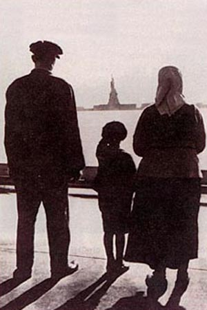 Immigrants viewing Statue of Liberty from Ellis Island National Archives Photo