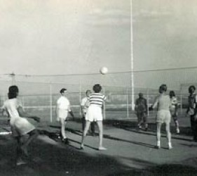 young men and women play volleyball