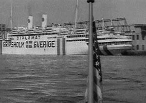 Gripsholm in New York Harbor preparing for repatriation voyage. National Archives Photo