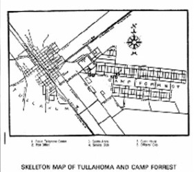 """skeleton"" map of Tullahoma and Camp Forrest"
