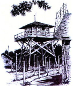 Ft. Meade guard tower. Image from original drawing by German internee Paul Lameyer. Courtesy his grandson, Randy Houser.