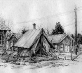 sketch, Ft. Meade tents