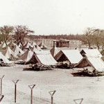 rows of tents (internee housing), with dirt road and barbed wire fences