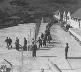 long line of men leaving camp