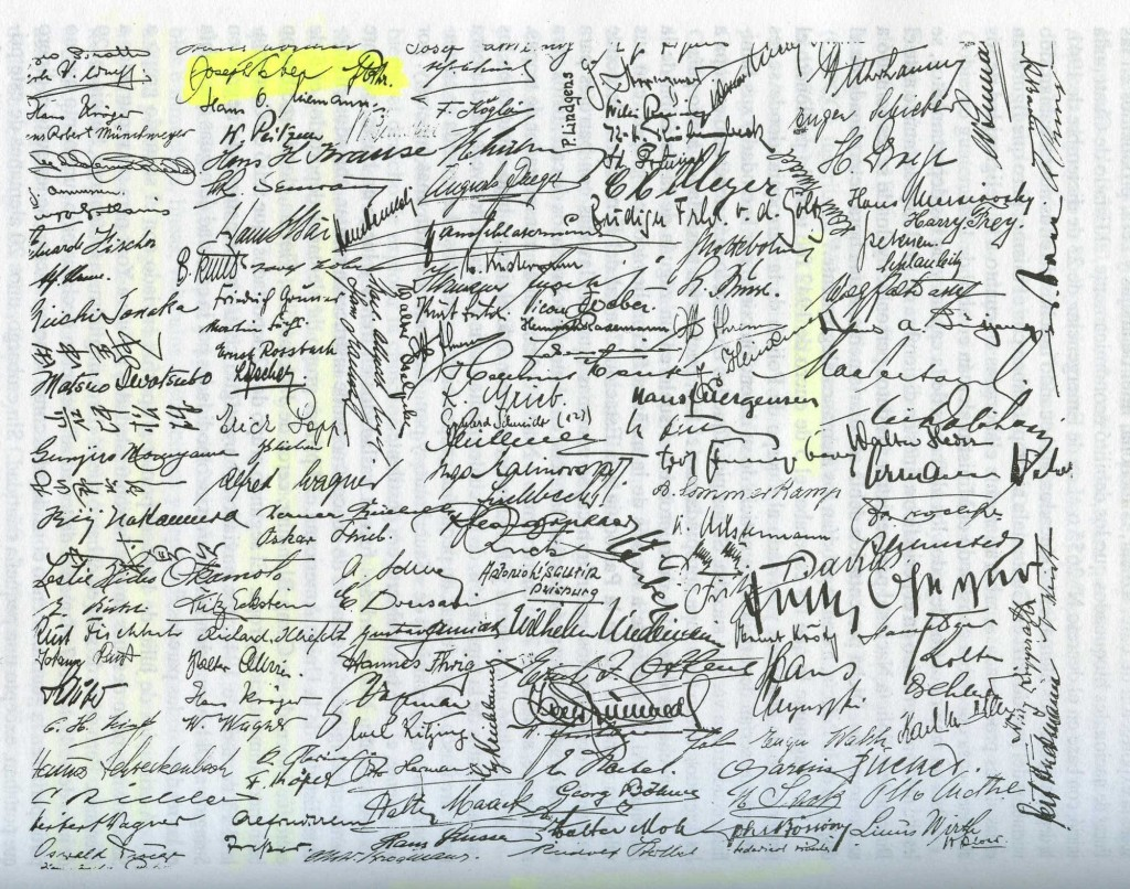 Copy of signatures of Guatemalan deportees, 1942. From S.S. Drottningholm, a Swedish ship used in exchanges of Latin American civilians to Germany (Joe Leber's signature in yellow) — Los alemanes en Guatemala, 1828-1944, by Regina Wagner, Guatemala, 1996.
