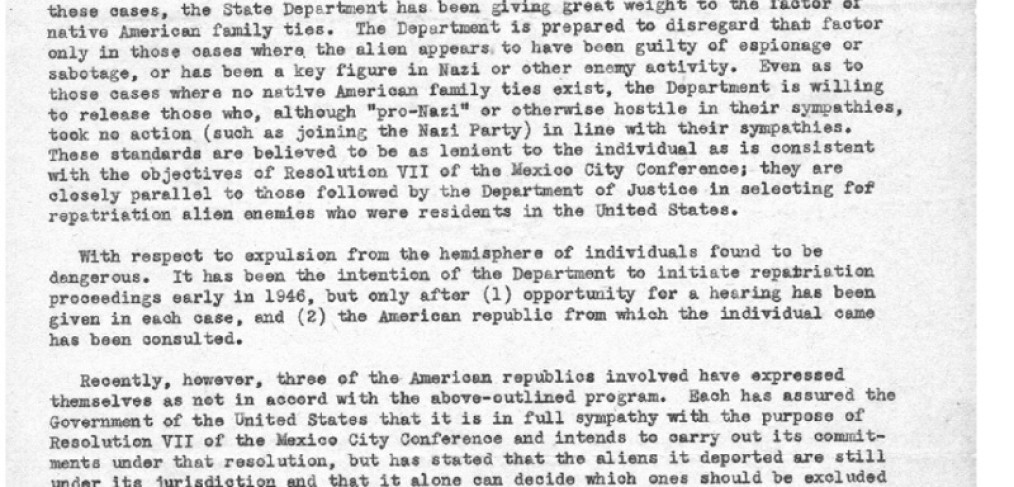 State Department memo, page 1, 1946