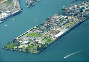 """Reservation Point is at the very southwest tip of Terminal Island, which includes the US Quarantine Station and a federal prison. Photograph from """"Terminal Island."""" Wikipedia, The Free Encyclopedia."""