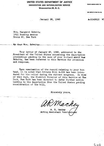 1949-01-28 INS-Schmitz Letter