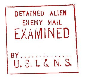 examined alien enemy mail stamp