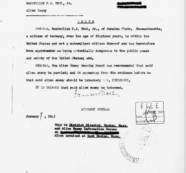 Internment order for Max Ebel from Attorney General