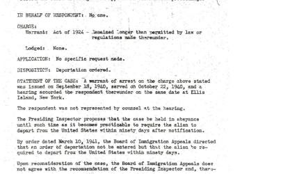 Ellis Island hearing, page 1
