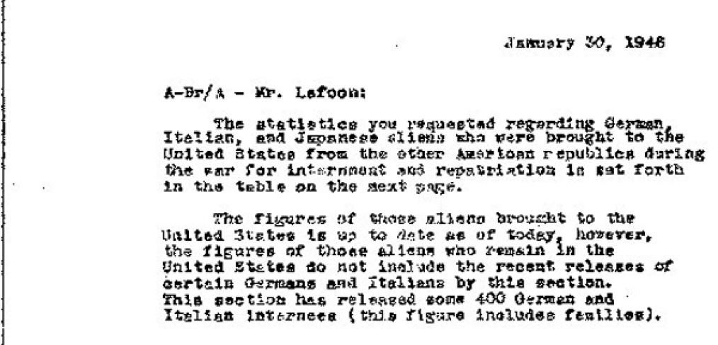 partial image, White to Lafoon memo, 1946