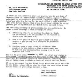 Schmitz immigration letters, 2